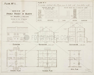 'Design of Double Houses in Blocks for Workmen & Colliers'  19th century.