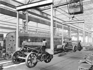 Carriage repair at Newton Heath Works  Greater Manchester  5 March 1927.