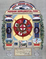 Railway pension supplemental fund certificate  1905.