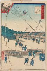 Kite-flying in Japan  1860s.