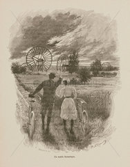 Couple with bicycles watching fantastical machines  1898.