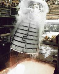 Shuttle Main Engine firing in gimbal test  USA  1995.