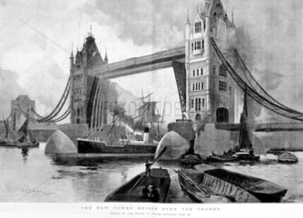 'The New Tower Bridge over the Thames'  1894.