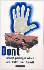 'Don't Accept Packages which are Unfit for Transit'  BR staff poster  1960.