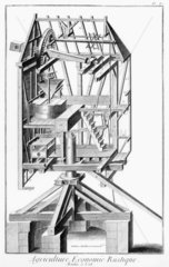 Perspective sectional view of a post-windmill  c 1762.
