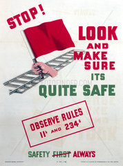 'Stop! Look and make sure it's quite safe'  SR poster  1947.