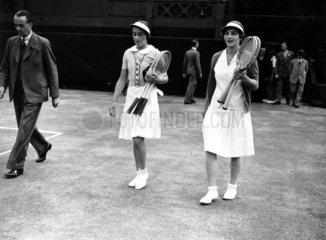 Tennis players Helen Wills Moody and Joan Hartigan at Wimbledon  1935.