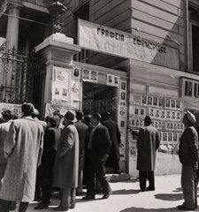 People pause to study campaign posters on eve of election in Greece  1946.