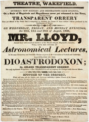 Handbill advertising Mr Lloyd's astronomical lectures  Wakefield  1823.