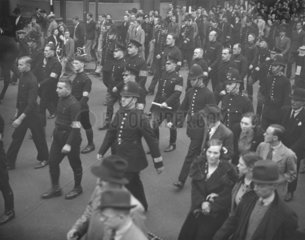 Black shirts marching to the East End  London  4 October 1936.