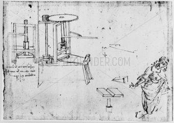 Sketch of a printing press.