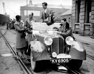 British rally winners on their return from