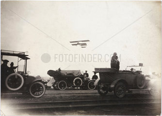 Biplane taking off from Manchester  c 1910.