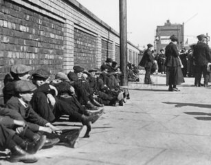 Miners resting at Central Station  Blackpool  21 June 1919.