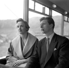 Honeymooners travelling to the West Country on the 'Devon Belle'  May 1953.