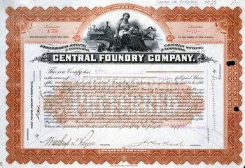 Central Foundry share certificate  Brazil  1 September 1899.