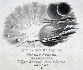 Engraved trade card of Egbert Storer  horologist  Islington  London  c 1870s.