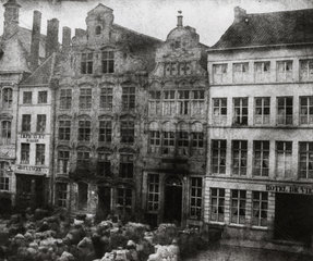 Selling wool in a market square  Malines  Belgium  c 1840s.
