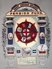 Great Eastern Railway pension fund. membership certificate  1886.