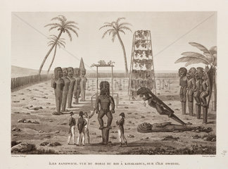 The king's Morai at Kayakakoua  Sandwich Islands  1817-1820.