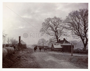 Village street on a frosty day  c 1890.