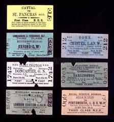 Selection of Edmondson-type railway tickets  c 1905.