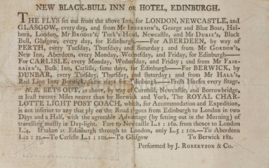 Coach timetable  1795.