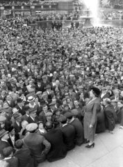 Ellen Wilkinson MP  speaking to the crowds in Trafalgar Square  1937.
