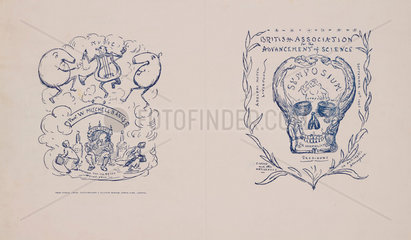 Symposium programme featuring cartoons and a skull  1896.