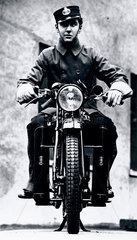 Motorcycle telegram messenger  c 1930s.