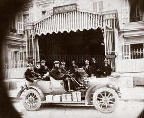 C S Rolls with friends in a Rolls-Royce car outside the Royal Hotel  1904.