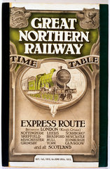 Front cover of Great Northern Railway express route timetable  1912-1913.