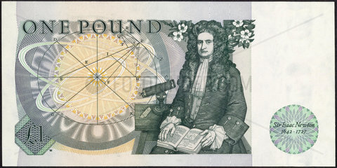 One pound note  showing the portrait of Sir