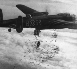 RAF plane dropping bombs over Duisburg  Germany  15 October 1944.