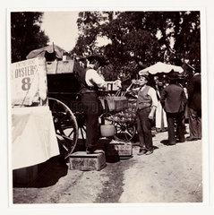 Fairground drinks stall  c 1898.