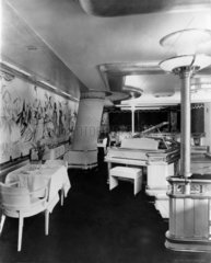 View of dining room of Cunard liner  9 April 1954.