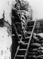 British sniper at his post in a trench  1914-1918.