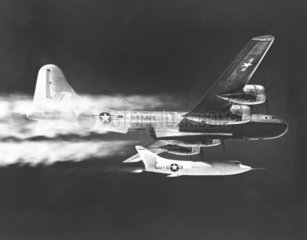 D-558-2 being launched from the B-29 Mothership  1 January 1956.
