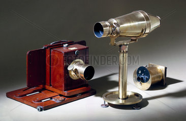Three early cameras  c 1860.
