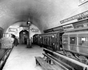 City & South London electric tube trains at Euston underground station  c 1908.