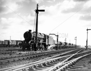 Wartime photograph of 2-8-0 steam locomotiv