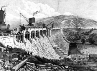 Dam at Vyrnwy  North Wales  1889.