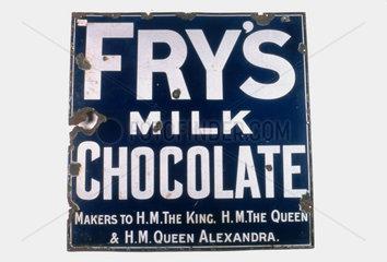 Sign advertising 'Fry's Milk Chocolate'  c 1920.