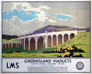 'Greenisland Viaducts'  LMS poster  1923-1947.