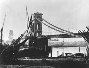 Hungerford Suspension Bridge  London  c 1858.