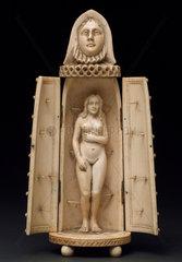 Ivory model of iron maiden with woman inside  European.