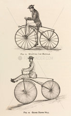 'Starting the Bicycle'  and 'Going Down Hill'  1869.