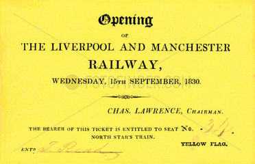 Ticket for the opening day of the Liverpool & Manchester Railway  1830.