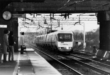 APT going through Acton station  Cheshire  7 December 1981.