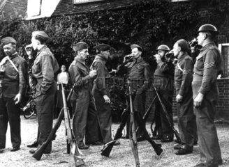 Home Guard members enjoy 'a half pint befor